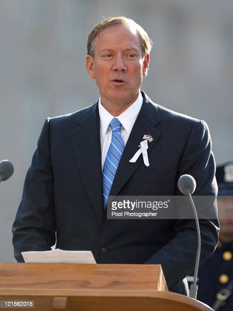 New York Governor George Pataki reading I Think Continually of Those Who Were Trully Great by Stephen Spender during a ceremony marking the two year...