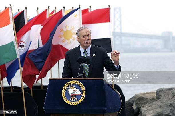 New York Governor George Pataki speaks before California Governor Arnold Schwarzenegger signs landmark legislation bill AB32 the California Global...