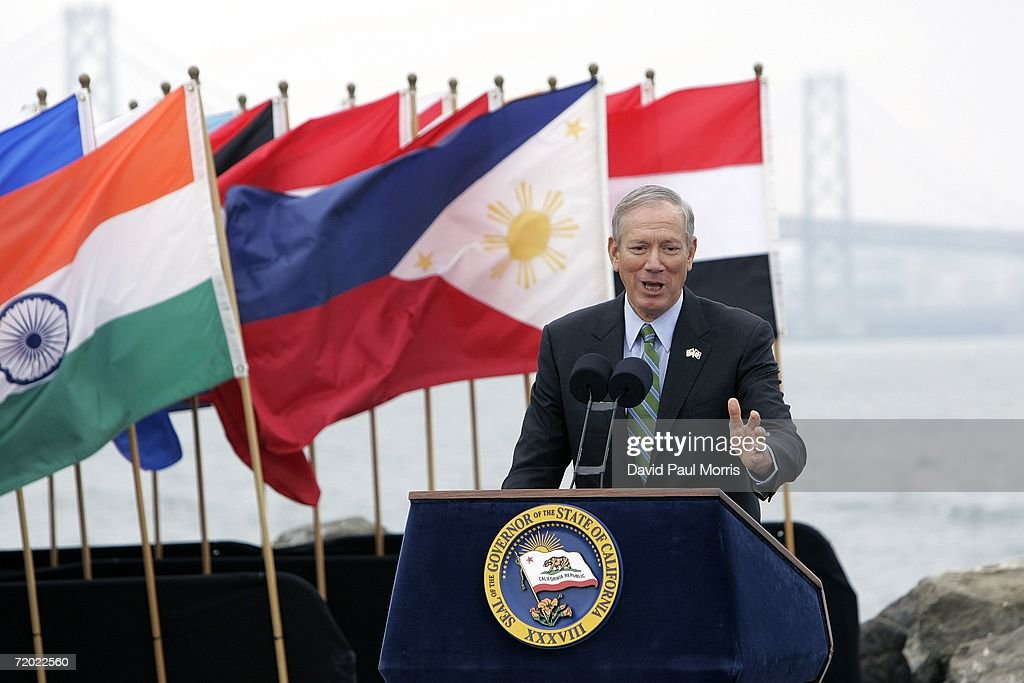 New York Governor George Pataki speaks before California Governor Arnold Schwarzenegger signs landmark legislation bill AB-32, the California Global Warming Solutions Act of 2006 to reduce greenhouse emissions in order to help global warming on September 27, 2006 on Treasure Island in San Francisco, California. Schwarzenegger was joined by British Prime Minister Tony Blair via satellite along with other international leaders with a consistent record of addressing the global threat of climate change and other environmental and industry leaders.