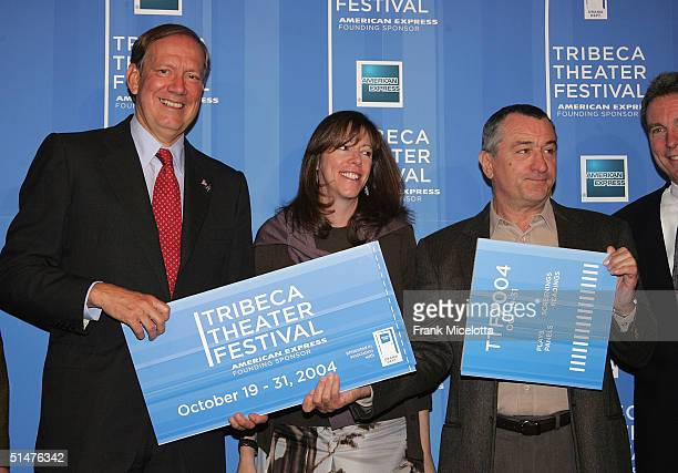 New York Governor George Pataki Tribeca Film Festival CoFounder Jane Rosenthal and actor Robert De Niro hold a giant ticket at the press conference...