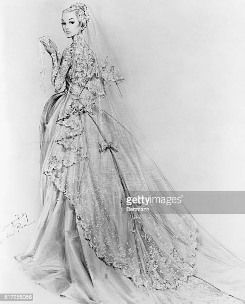 New York: Grace's Cathedral Wedding Gown. Here is a sketch of the gown actress Grace Kelly will wear when she becomes the Princess-Bride of Prince...