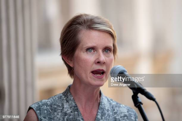 New York gubernatorial candidate Cynthia Nixon speaks about her campaign finance reform plan during a small news conference outside the Old New York...