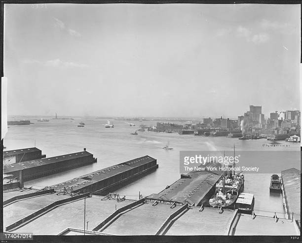 New York Harbor and East River viewed from Brooklyn Heights, left side of a panorama, New York, New York, mid 1910s.