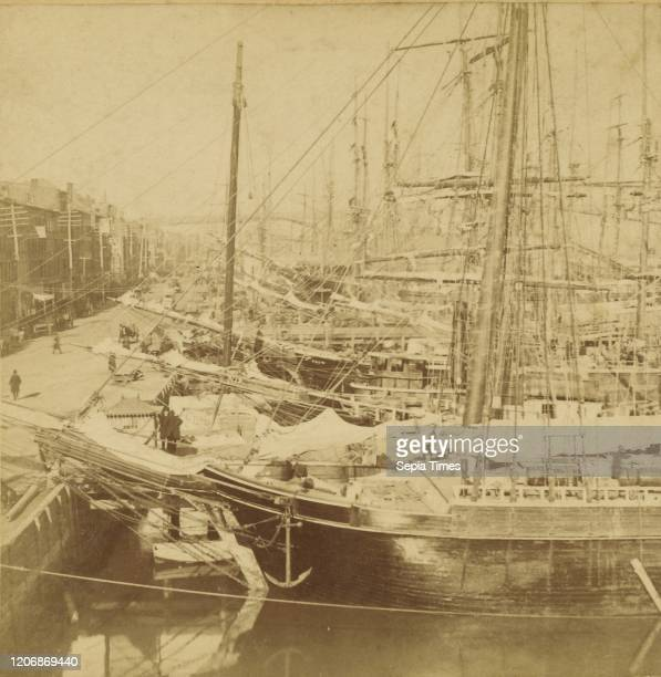 New York Harbor, Crowded with Shipping, Benjamin West Kilburn , about 1865, Albumen silver print.