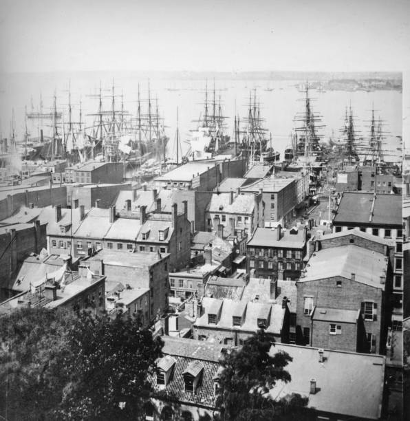 Ships moored in New York Harbour, seen from Trinity...