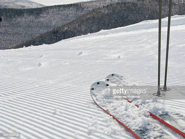 USA, New York, Hunter, Skis on ski slope