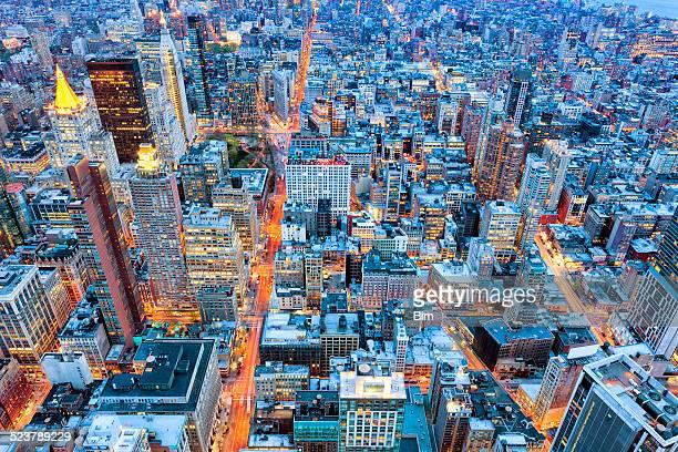 New York の照明、ワンランク上の夕暮れの眺め