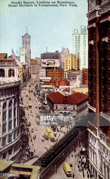 New York in the 1920's Herald Square and Broadway Hotel McAlpin in foreground Colourised postcard