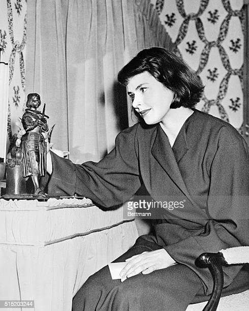 New York: Inspiration. Ingrid Bergman sits at her dressing table at the Alvin Theater following her opening night performance in the title role of...