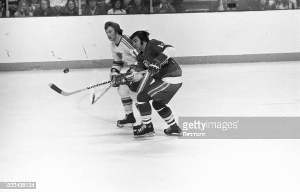 New York Islander Craig Cameron and St. Louis Blues' Floyd Thomson battle for the puck as it sails through the air in the first period of play.