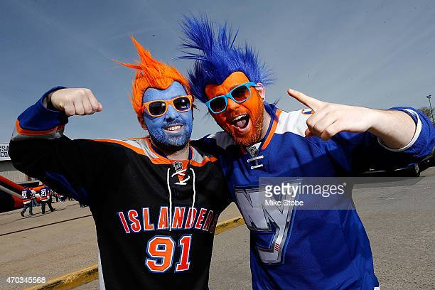 New York Islander fans are seen prior to the game between the New York Islanders and the Washington Capitals the during Game Three of the Eastern...
