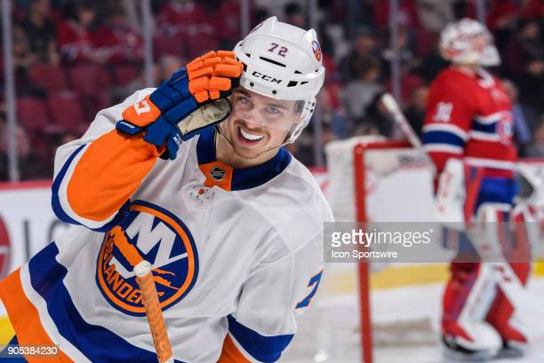 New York Islanders center Anthony Beauvillier looks on during the first period of the NHL game between the New York Islanders and the Montreal...