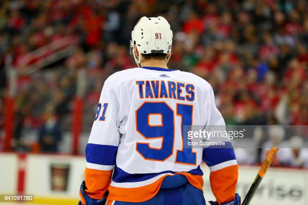 New York Islanders center John Tavares skates off the ice during the second period of the National Hockey League Game between the New Jersey Devils...
