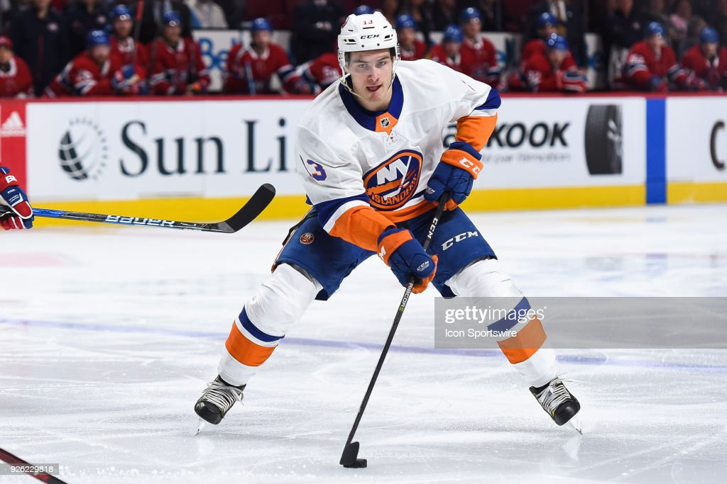 New York Islanders Center Mathew Barzal (13) enters Montreal Canadiens zone with the puck during the New York Islanders versus the Montreal Canadiens game on February 28, 2018, at Bell Centre in Montreal, QC