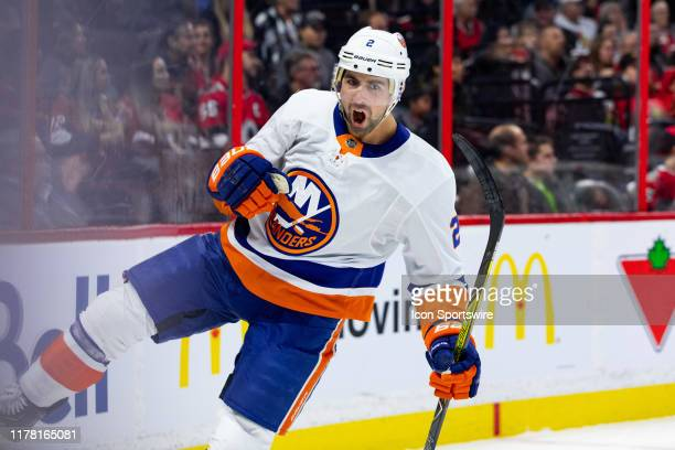 New York Islanders Defenceman Nick Leddy celebrates his goal during first period National Hockey League action between the New York Islanders and...
