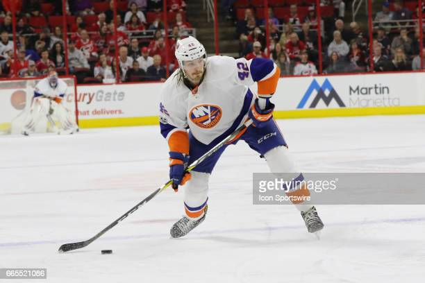 New York Islanders Defenceman Scott Mayfield during the 1st period of the Carolina Hurricanes game versus the New York Islanders on April 06 2017 at...