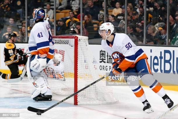 New York Islanders defenseman Adam Pelech starts up ice during a game between the Boston Bruins and the New York Islanders on December 9 at TD Garden...