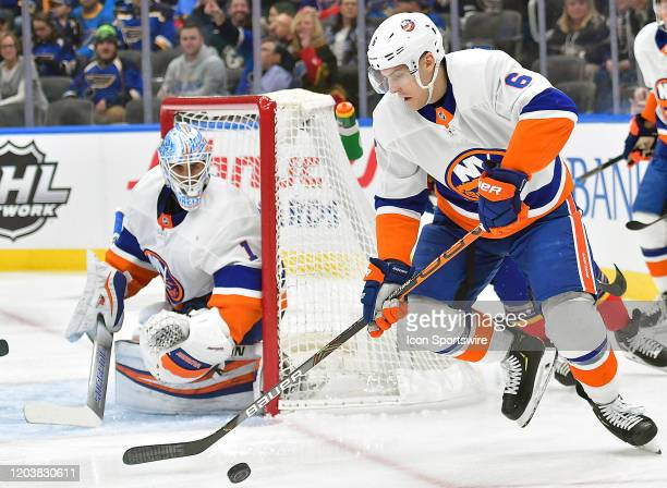 New York Islanders defenseman Ryan Pulock skates with the puck during an NHL game between the New York Islanders and the St Louis Blues on February...