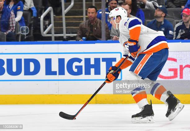 New York Islanders defenseman Scott Mayfield during an NHL game between the New York Islanders and the St Louis Blues on February 27 at Enterprise...