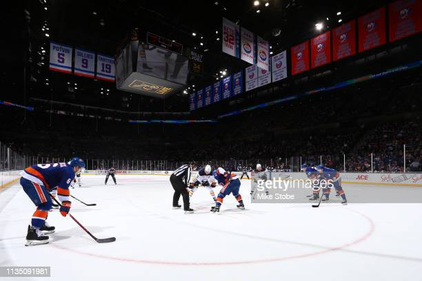 New York Islanders face-off against the Buffalo Sabres at NYCB Live's Nassau Coliseum on March 30, 2019 in Uniondale, New York.