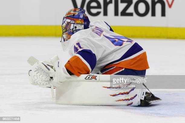 New York Islanders Goalie Jaroslav Halak during the 2nd period of the Carolina Hurricanes game versus the New York Islanders on April 06 2017 at PNC...