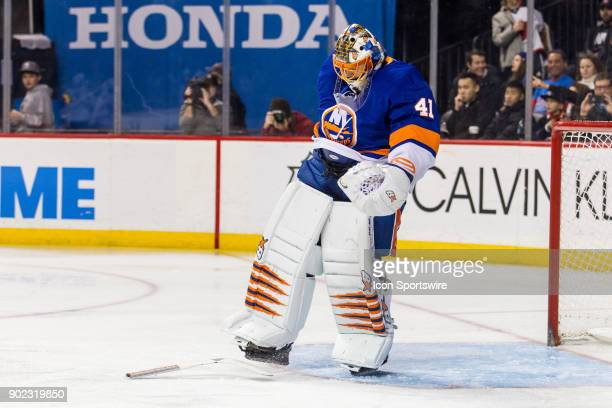 New York Islanders Goalie Jaroslav Halak kicks his stick across the ice after breaking it during the third period of a Metropolitan Division matchup...