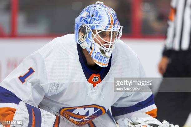New York Islanders Goalie Thomas Greiss prepares for a face-off during second period National Hockey League action between the New York Islanders and...