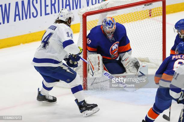 New York Islanders goaltender Semyon Varlamov makes a save against Tampa Bay Lightning left wing Pat Maroon during game 6 of the Stanley Cup Playoffs...