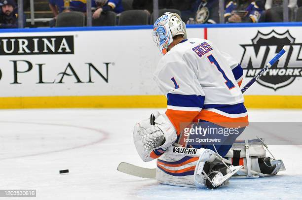New York Islanders goaltender Thomas Greiss blocks a shot during an NHL game between the New York Islanders and the St Louis Blues on February 27 at...