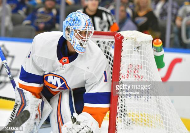 New York Islanders goaltender Thomas Greiss watches the puck during an NHL game between the New York Islanders and the St Louis Blues on February 27...