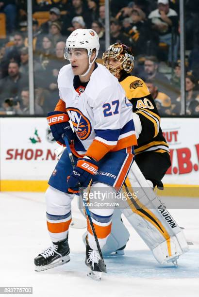 New York Islanders left wing Anders Lee sets up in front of Boston Bruins goalie Tuukka Rask during a game between the Boston Bruins and the New York...