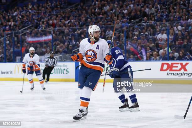 New York Islanders left wing Andrew Ladd celebrates after scoring a goal in the 1st period of the NHL game between the New York Islanders and Tampa...
