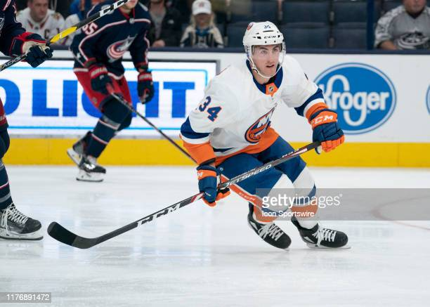 New York Islanders right wing Cole Bardreau skates during the second period of the game between the Columbus Blue Jackets and the New York Islanders...