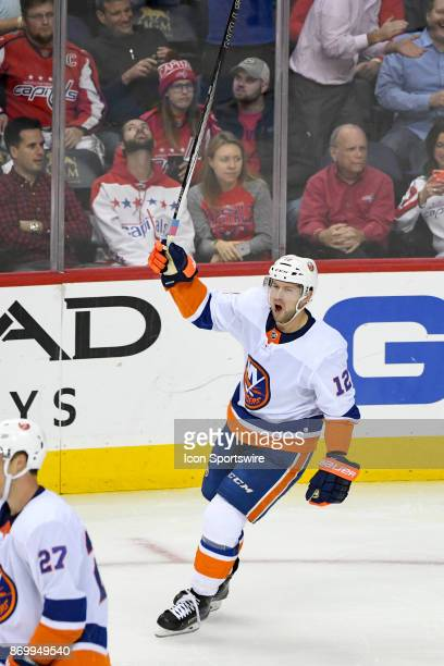 New York Islanders right wing Josh Bailey celebrates a third period goal against the Washington Capitals during an NHL game between the New York...