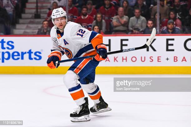 New York Islanders right wing Josh Bailey skates while looking towards his left during the New York Islanders versus the Montreal Canadiens game on...