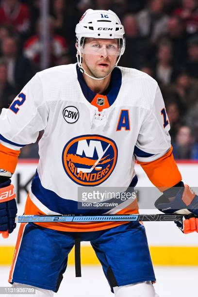 New York Islanders right wing Josh Bailey waits for a faceoff during the New York Islanders versus the Montreal Canadiens game on March 21 at Bell...