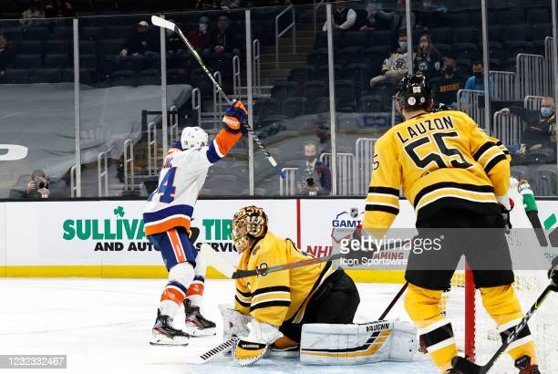 New York Islanders right wing Travis Zajac reacts to his goal during a game between the Boston Bruins and the New York Islanders on April 15 at TD...