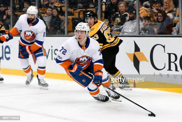 New York Islanders winger Anthony Beauvillier turns up ice during a game between the Boston Bruins and the New York Islanders on December 9 at TD...