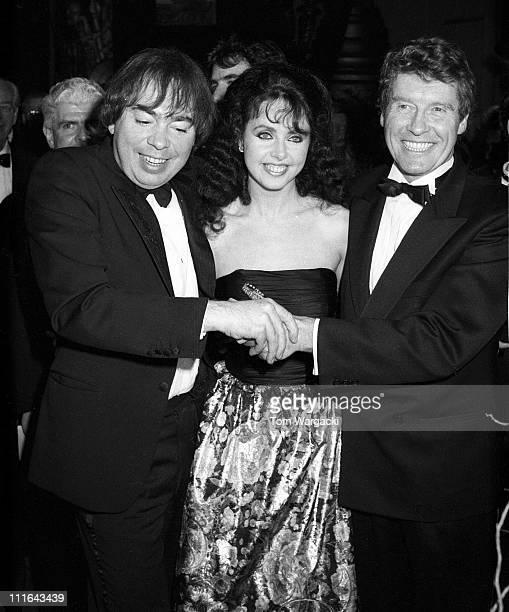 New York January 26 1988 Andrew Lloyd Webber Sarah Brightman and Michael Crawford at opening night of Phantom of the Opera Beekman Theatre