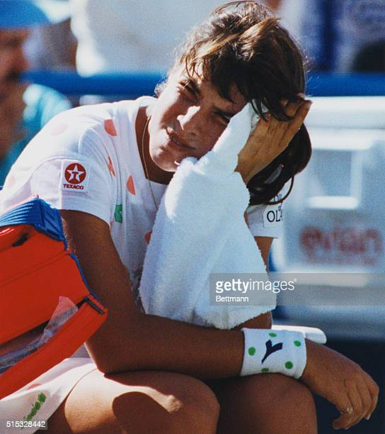 Jennifer Capriati probably sees the end coming as she pauses between sets in her match with Steffi Graf in the US Open Graf beat Capriati 61 62 Photo...