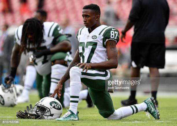 New York Jest wide receiver JoJo Natson stretches prior to the start of an NFL game between the New York Jets and the Tampa Bay Buccaneers on...