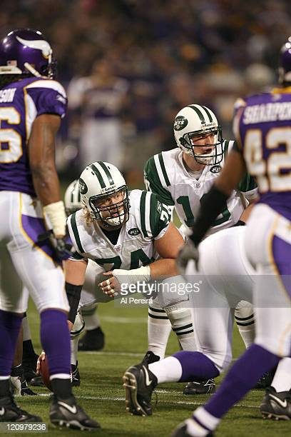 New York Jets C Nick Mangold in action during the New York Jets 2613 victory over the Minnesota VIkings at the HHH Metrodome Minneapolis Minnesota...