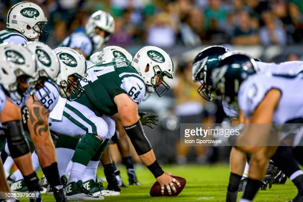 New York Jets center Travis Swanson ready at the line of scrimmage during the NFL preseason game between the New York Jets and the Philadelphia...