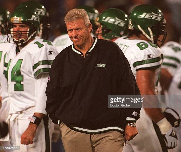New York Jets coach Bill Parcells looks over his team during Sunday's game against the New England Patriots in Foxborough