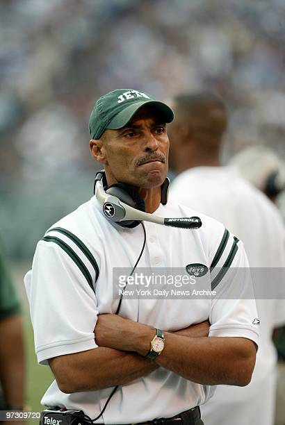 New York Jets' coach Herm Edwards can only watch as his team goes down to defeat against the New York Giants at Giants Stadium The Giants won 3128 in...