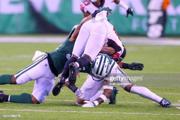New York Jets defensive back Jamal Adams tackles Atlanta Falcons wide receiver Justin Hardy during the first quarter of the preseason National...