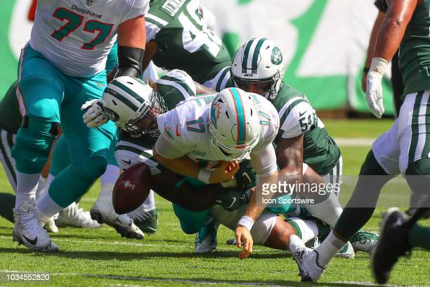 New York Jets defensive tackle Leonard Williams forces a fumble against Miami Dolphins quarterback Ryan Tannehill during the National Football League...