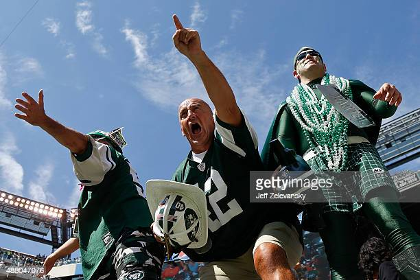 New York Jets fan Fireman Ed cheers during the game against the Cleveland Browns at MetLife Stadium on September 13, 2015 in East Rutherford, New...