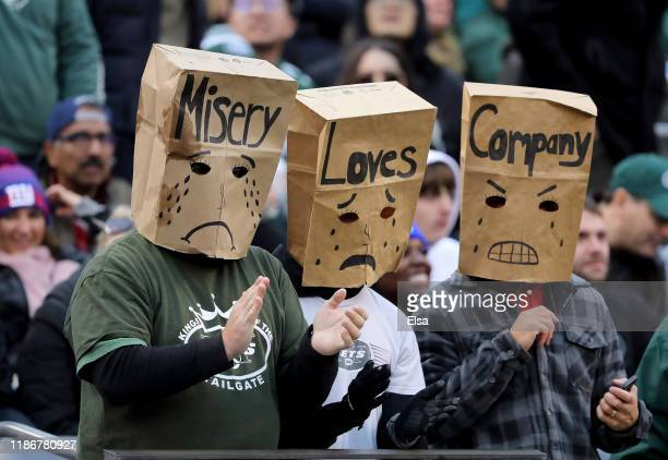 New York Jets fans react during the third quarter against the New York Giants at MetLife Stadium on November 10 2019 in East Rutherford New JerseyThe...