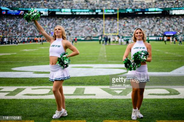 New York Jets flight crew cheerleaders perform prior to the game against the Dallas Cowboys at MetLife Stadium on October 13 2019 in East Rutherford...